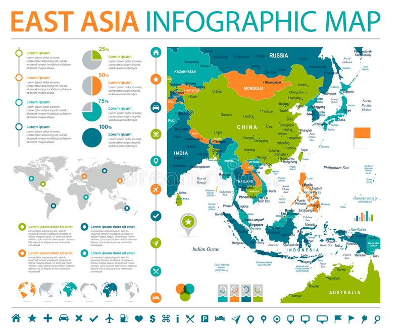 east asia map detailed info graphic vector illustration