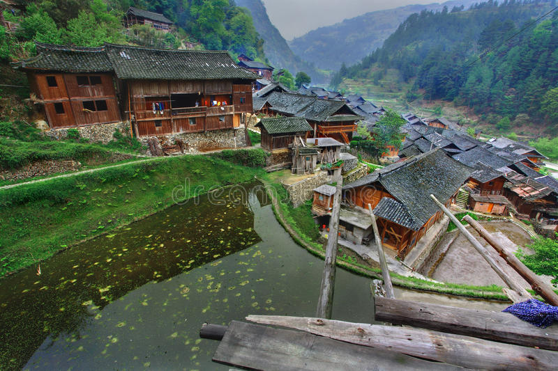 East Asia, South West China, ethnic village in mountain area. stock photo