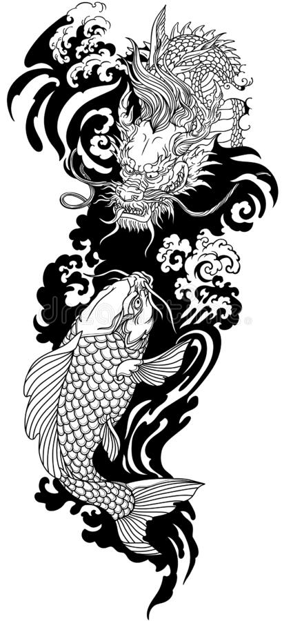 Free East Asian Dragon And Koi Carp. Black And White Tattoo Stock Images - 181229204