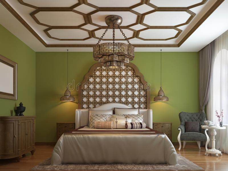 East bedroom in Arab style, wooden headboard and green walls. TV unit, dressing table, armchair with coffee table stock illustration