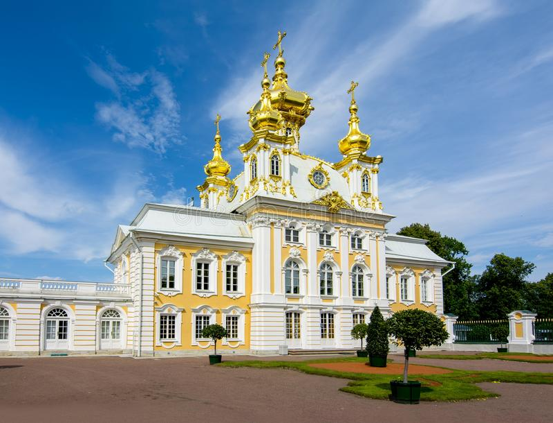 East Chapel of Grand Peterhof Palace in Petrodvorets, Saint Petersburg, Russia stock photo
