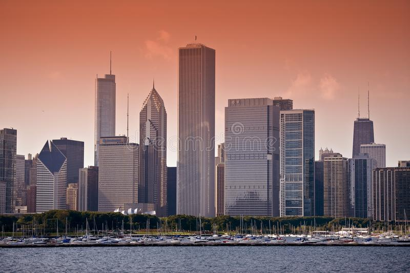 Download East Chicago Skyline editorial photo. Image of horizontal - 21226596