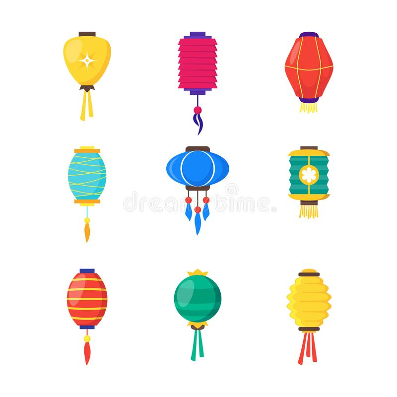 Free East Chinese Paper Street Or House Lanterns Set. Vector Stock Images - 101019334