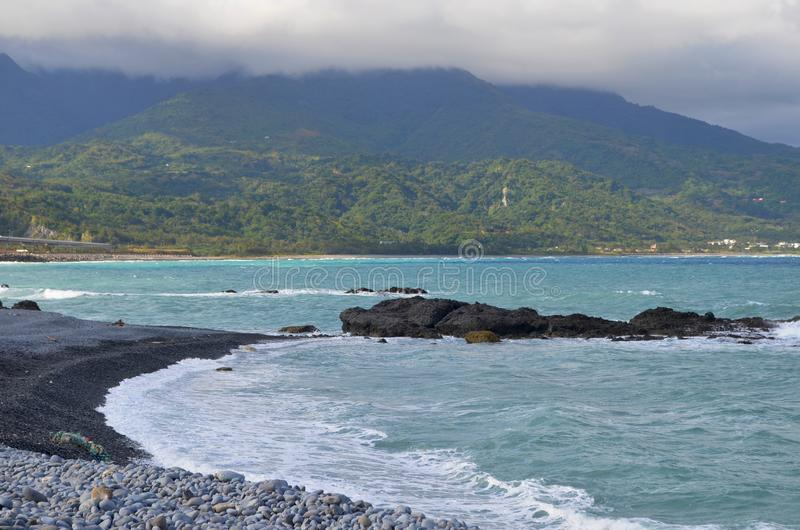 Coastal landscape near Sanxiantai bridge, in Taiwan`s East Coast National Scenic Area. The East Coast National Scenic Area is located in Taiwan`s south-eastern stock photography