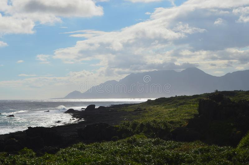 Coastal landscape near Sanxiantai bridge, in Taiwan`s East Coast National Scenic Area. The East Coast National Scenic Area is located in Taiwan`s south-eastern royalty free stock photo