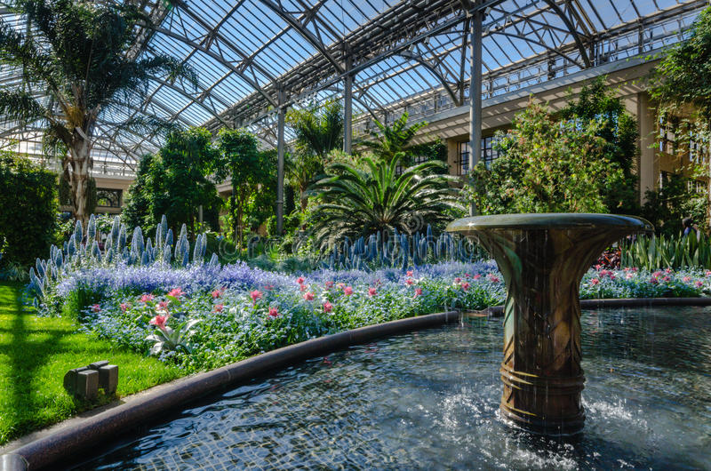 East Conservatory - Longwood Gardens - PA. Dramatic greenhouse garden features flowing water fountain and lush display of colorful tropical plants at Longwood stock photography