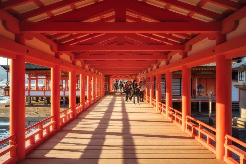 East Corridors at Itsukushima Shrine on Miyajima Island, Japan. Miyajima Island, Hiroshima, Japan -November 7, 2018: The East Corridor at Itsukushima Shrine royalty free stock photo