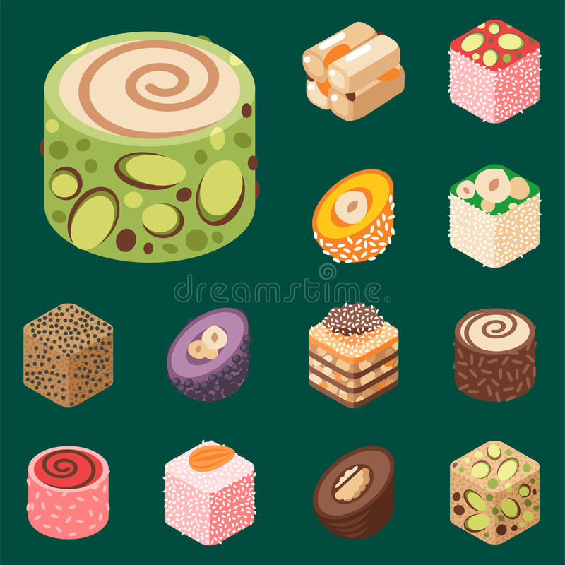East delicious dessert isolated sweets food confectionery homemade assortment vector illustration royalty free illustration