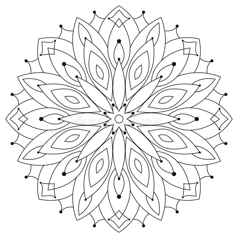 Download East Ethnic Round Mandala Coloring For Adults Stock Vector