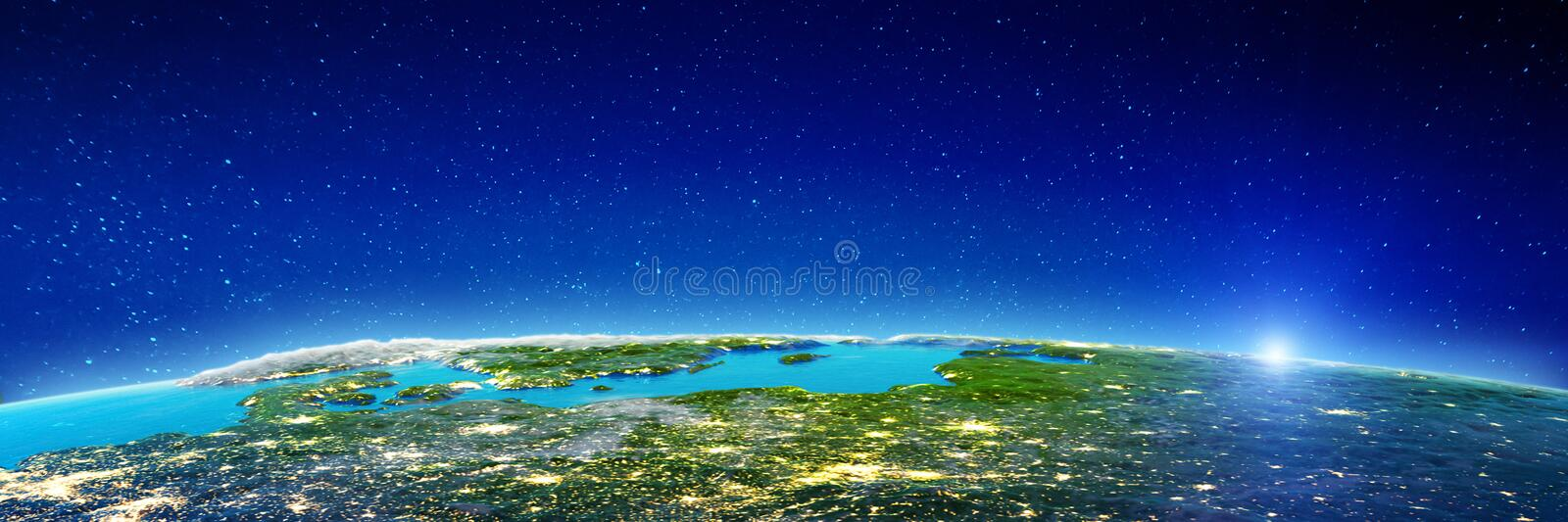 East Europe at night royalty free illustration