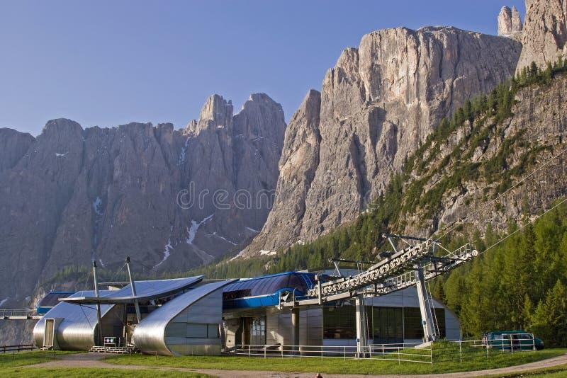 Mountain railway station in the Dolomites royalty free stock photo