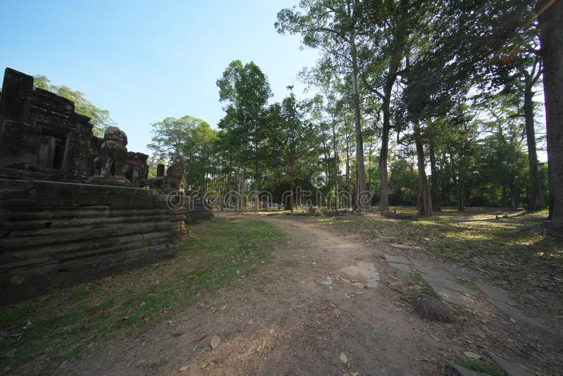 The East Gate of Bayon, Angkor Thom, Siem Reap. Siem Reap,Cambodia-Januay 11, 2019: The East Gate of Bayon, Angkor Thom, Siem Reap royalty free stock image