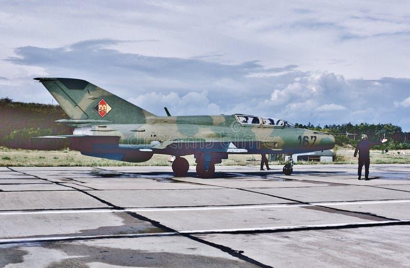 East German Air Force cold war MIG-21UM `Fishbed` jet fighter. Taken in September 1990. royalty free stock images