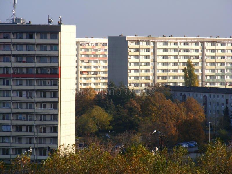 East German Plattenbau. Picture of some East German Plattenbauten lighted by the sun royalty free stock photos
