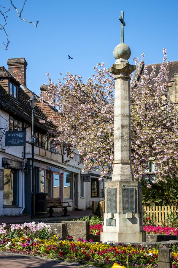 View of the War Memorial in East Grinstead on April 20, 2020. EAST GRINSTEAD, WEST SUSSEX/UK - APRIL 20 : View of the War Memorial in East Grinstead on April 20 royalty free stock image
