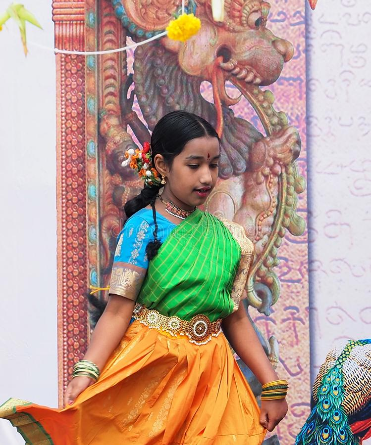 East Indian Folk Dancers At Edmonton`s Heritage Days royalty free stock photography