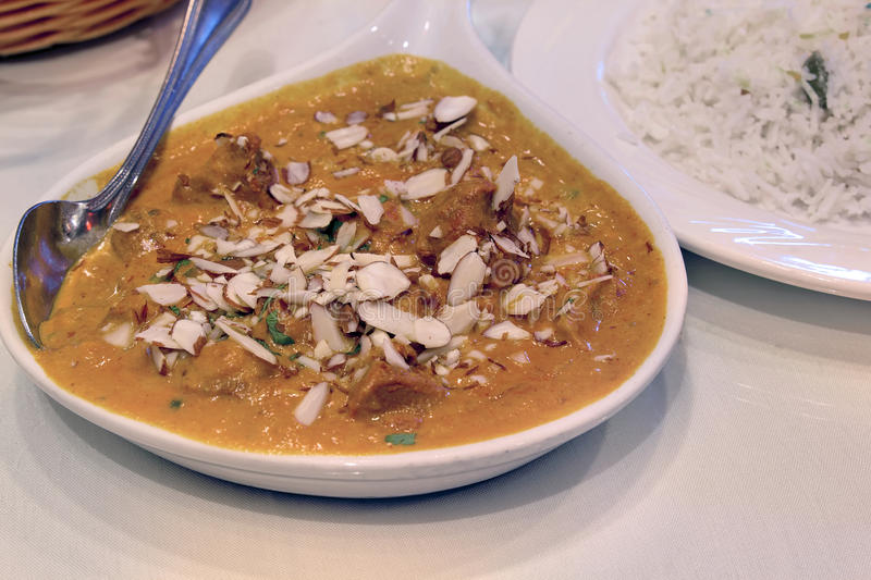 East Indian Food Lamb Korma Curry With Rice Stock Photo