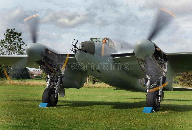 East Kirkby airfield. Lincolnshire. UK. 30/08/2019. Night fighter Mosquito undergoing restoration intending to return to flight. royalty free stock photos