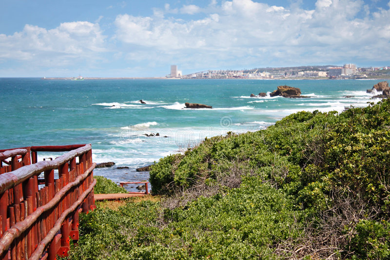 East london. Town, South Africa, coastal line, town in the background stock photos