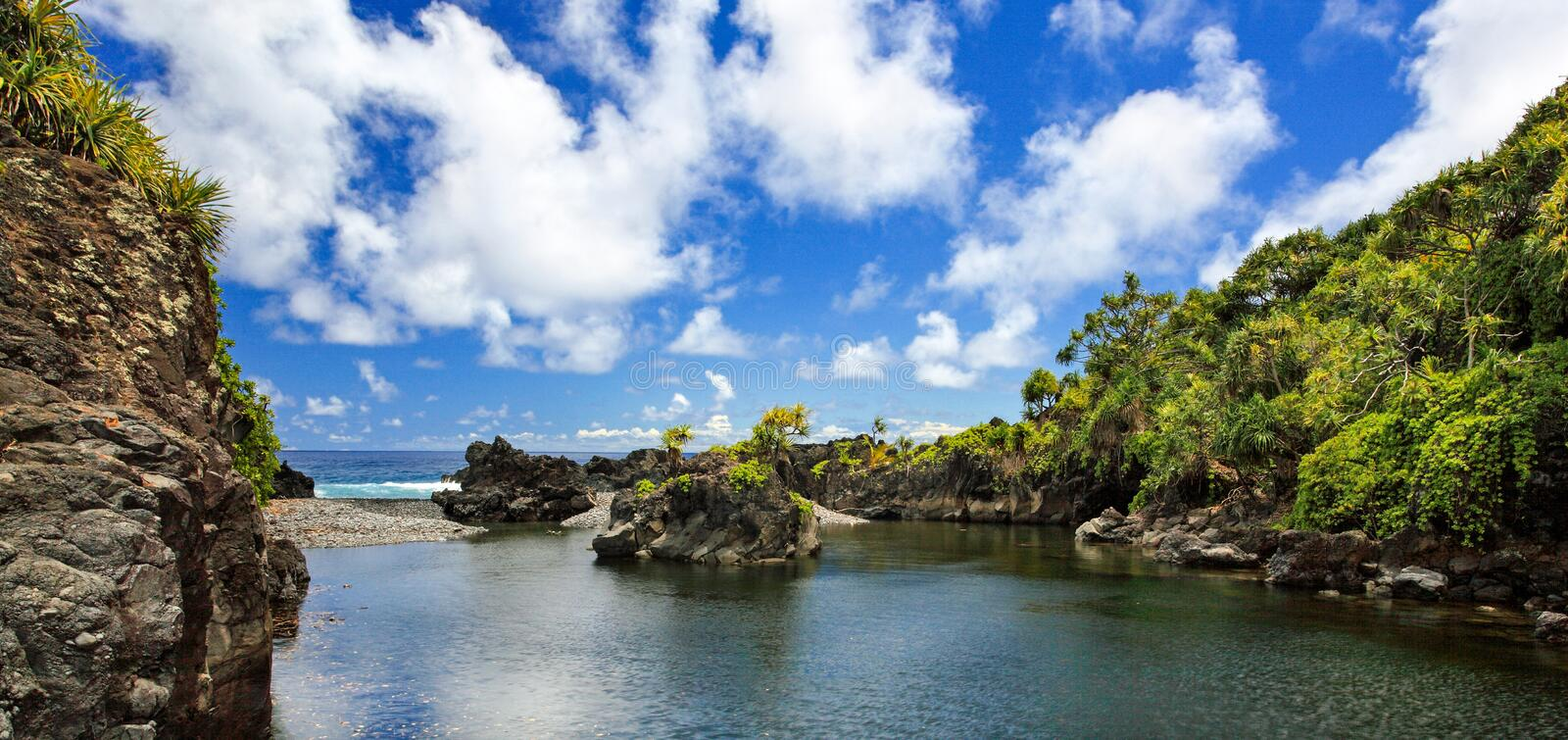 East Maui`s most spectacular pool is Waioka Pond and is a very hidden gem. Along the rugged coastline stock images