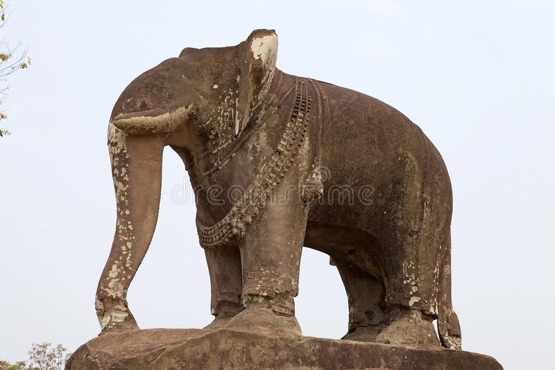 East Mebon temple ruins. Elephant sculpture at the East Mebon temple ruins, Angkor, Siem Reap, Cambodia. East Mebon temple was built in the second half of 10th stock photography