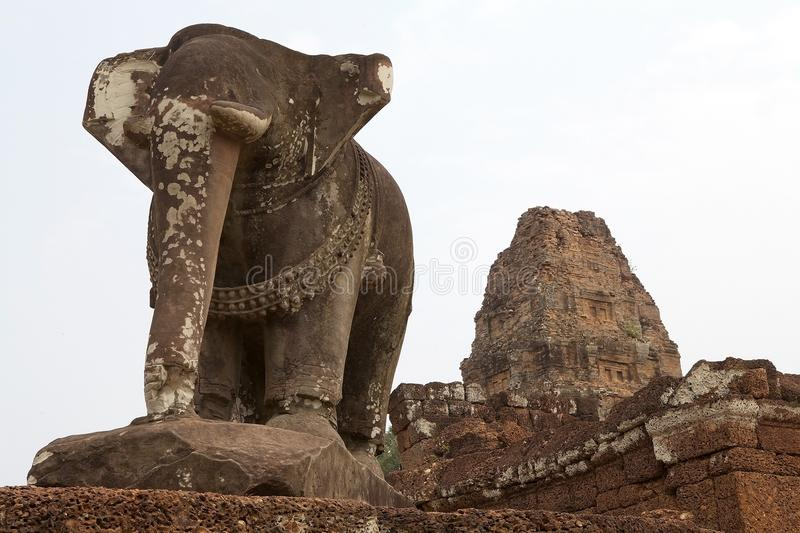 East Mebon temple ruins. Elephant sculpture at the East Mebon temple ruins, Angkor, Siem Reap, Cambodia. East Mebon temple was built in the second half of 10th stock images