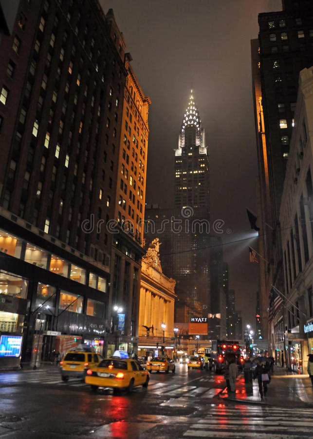East 42nd Street, New York on Rainy Night. royalty free stock photos