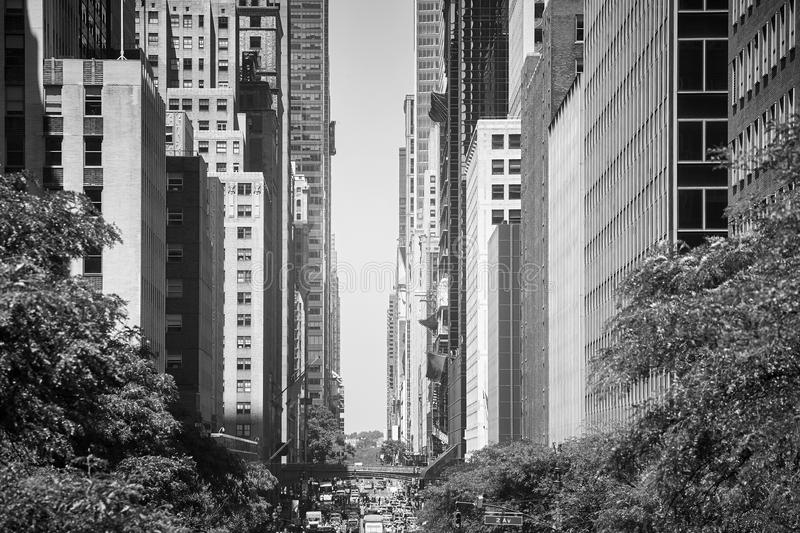 East 42nd Street during summer heat wave, New York City. stock image