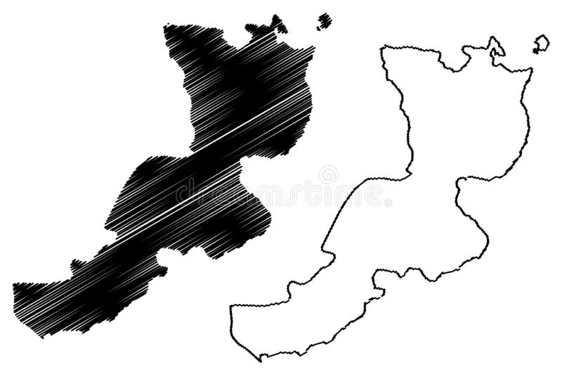 East New Britain Province Indipendent State of Papua Nuova Guinea, PNG, Province Mappa Illustrazione vettoriale, scarabocchio royalty illustrazione gratis