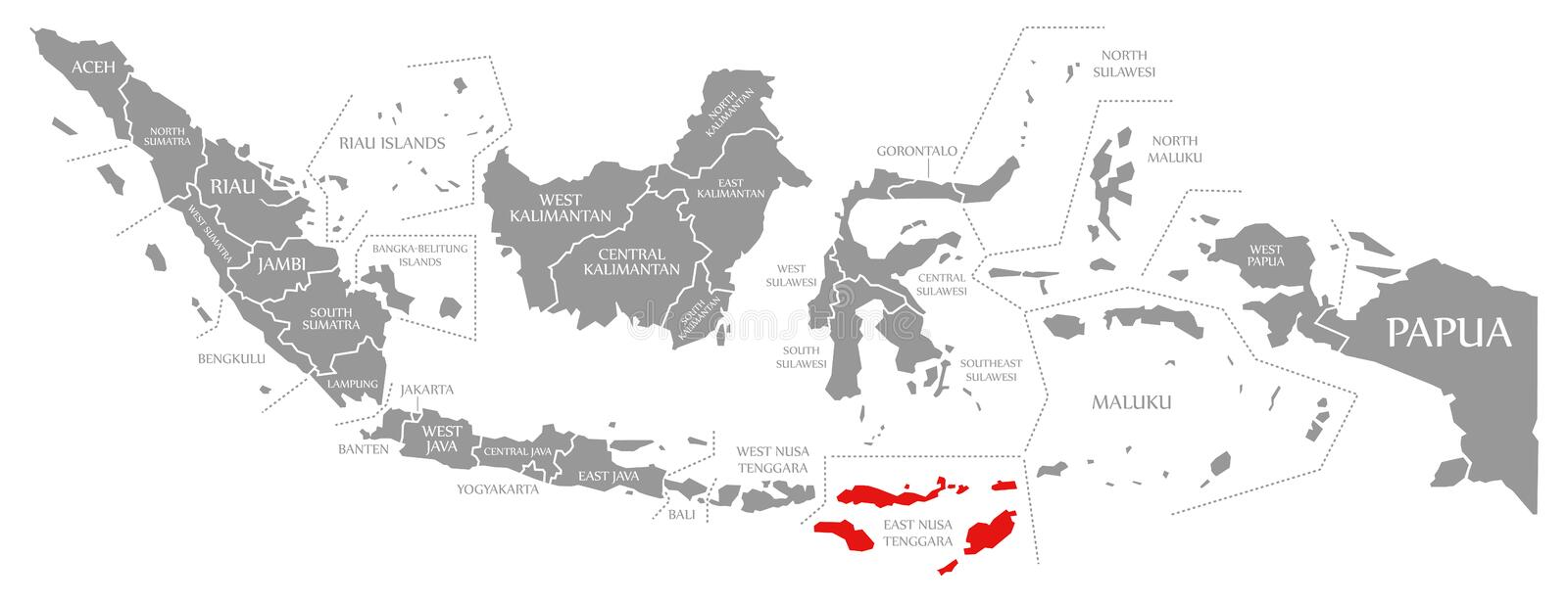 East Nusa Tenggara red op de kaart van Indonesië vector illustratie