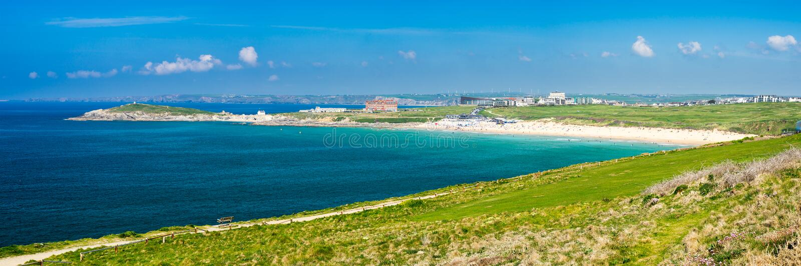 East Pentire Newquay Cornwall England. Panoramic view towards Fistral beach from East Pentire Newquay Cornwall England UK stock photography