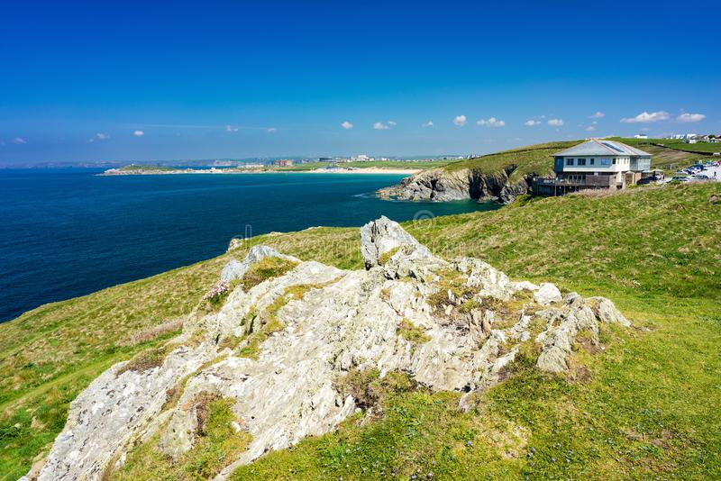 East Pentire Newquay Cornwall England. Views towards Fistral beach from East Pentire Newquay Cornwall England UK royalty free stock image