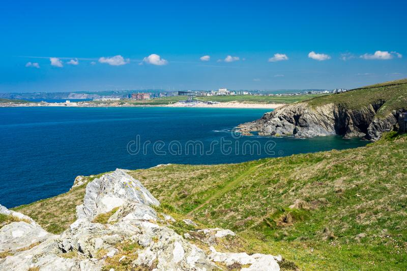 East Pentire Newquay Cornwall England. Views towards Fistral beach from East Pentire Newquay Cornwall England UK royalty free stock photo