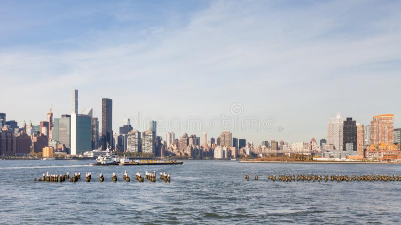 East River Looking Towards Manhattan, New York City stock image