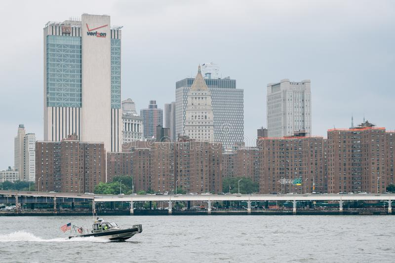 The East River and view of Manhattan from DUMBO in Brooklyn, New York City.  royalty free stock image