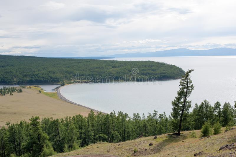 East shore of Lake Hovsgol in northern Mongolia stock images