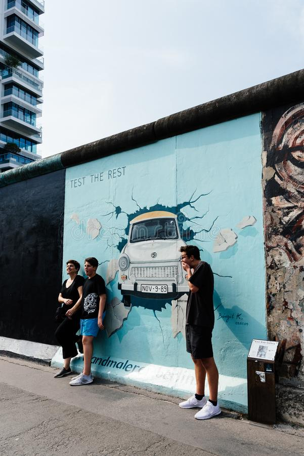 East Side Gallery in the famous Berlin Wall in Germany stock images