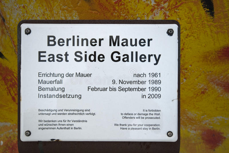 East Side Gallery Sign royalty free stock images