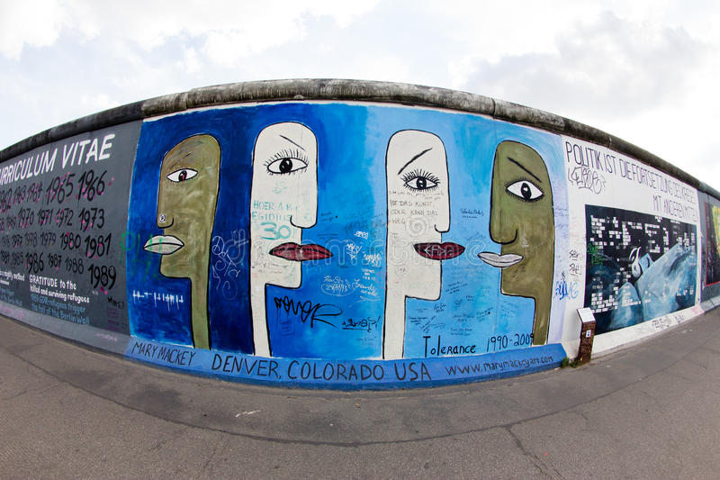 East Side Gallery - Street Art and Graffiti in Berlin, Germany stock image