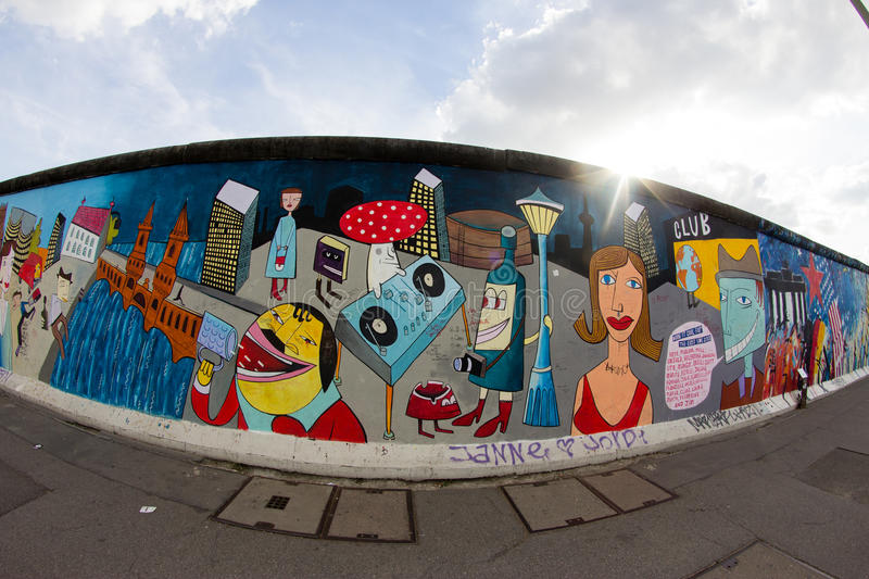 East Side Gallery - Street Art and Graffiti in Berlin, Germany royalty free stock images