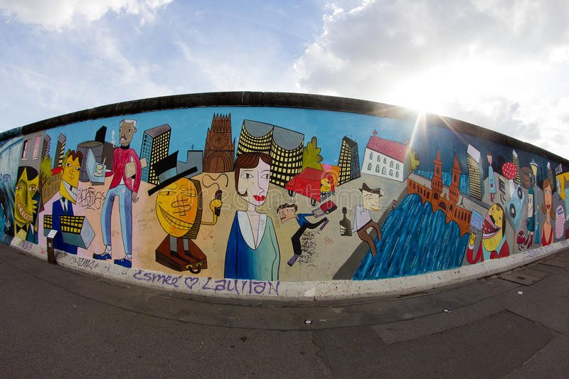 East Side Gallery - Street Art and Graffiti in Berlin, Germany royalty free stock photography