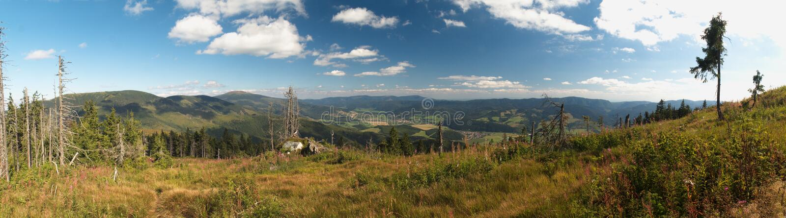 East and south panorama view from Kolesarova in Nizke Tatry mountains stock image