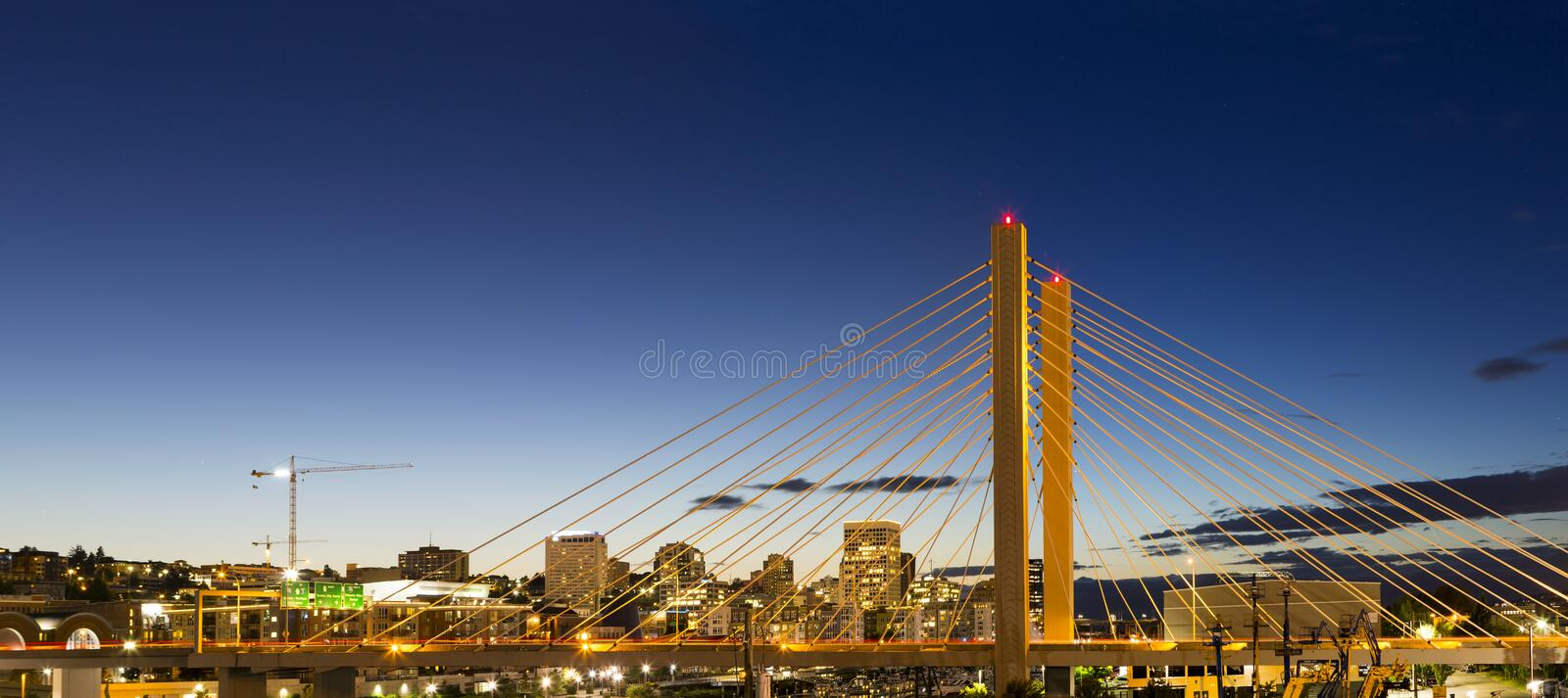 East 21st Street Bridge in Tacoma WA at Blue Hour. East 21st Street over Thea Foss Waterway in Tacoma Washington during evening blue hour panorama stock images