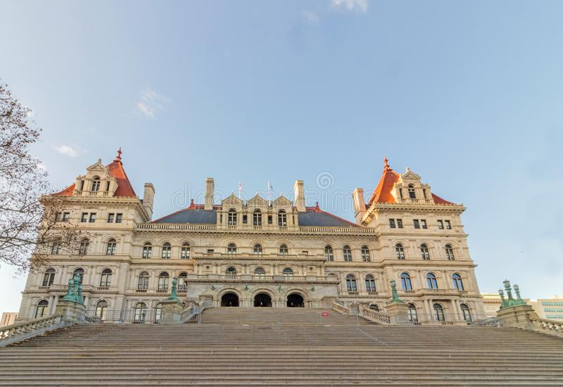 East stairs entrance to NYS capitol building royalty free stock photo
