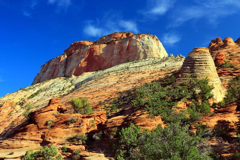 East Temple from Canyon Overlook Trail, Zion National Park, Utah. East Temple is towering above Canyon Overlook as a perfect representation of the dryer eastern royalty free stock images