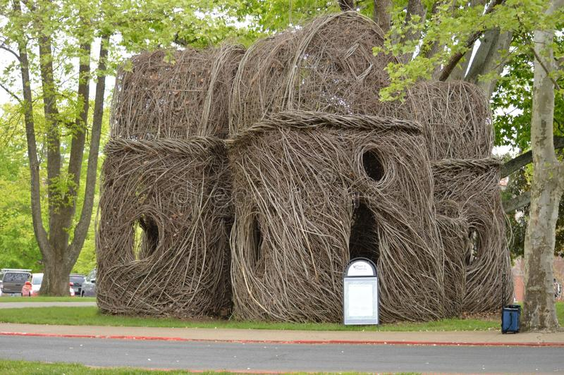 East Tennessee State University - Tree-branch Sculpture by Patrick Dougherty royalty free stock photography