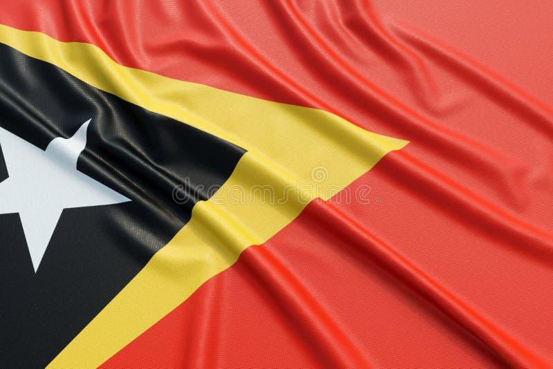 East Timor flag. Wavy fabric high detailed texture. 3d illustration rendering stock illustration