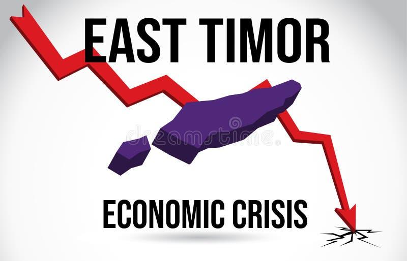 East Timor Map Financial Crisis Economic Collapse Market Crash Global Meltdown Vector. Illustration vector illustration