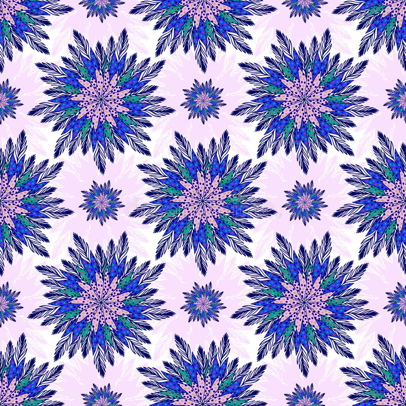East vector seamless pattern with abstract flowers. Indian purple background. Vector ornamental floral pattern for textile, linen vector illustration
