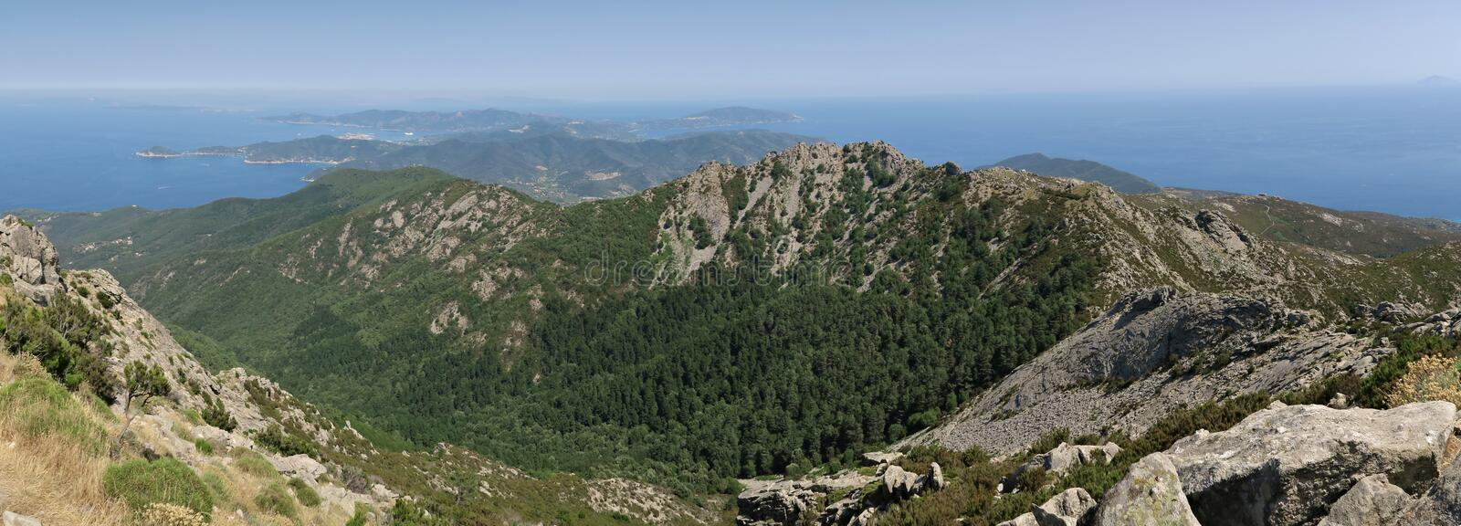 East view from the top of Monte Capanne on the island Elba royalty free stock photos